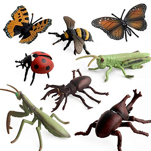 Fantarea Wild Animal Figures Moodel Insect Butterfly Bee Beetle Mantis Locust Coccinella Septempunctata Figurine Playset Desktop Decoration Collection Educational Child Development Toys Gifts(8 PCS) ()