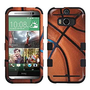 Dual Layer Plastic Silicone TUFF Basketball On Black Hard Cover Snap On Case For HTC One M8 + Screen Protector (Accessorys4Less)