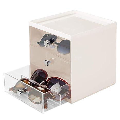 mDesign Caja para gafas de sol – Cajoneras de plástico con 3 cajones – Organizador de armarios para guardar todo tipo de gafas – crema/transparente