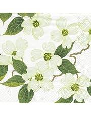 Caspari Entertaining papieren servetten, motief witte bloemen, 20 stuks