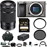 Sony Alpha a6000 Camera w/ 55-210mm Lens & Deluxe Accessory Bundle - Graphite