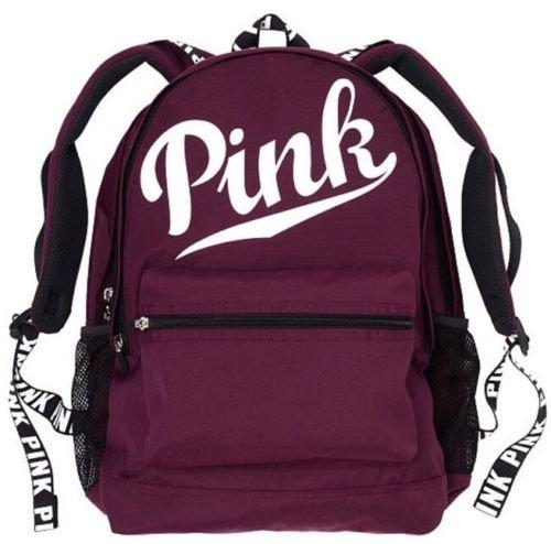 Victoria's Secret PINK Campus Backpack Black Orchid White Logo