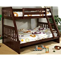 Furniture of America Neffie Bunk Bed, Twin Over Full, Dark Walnut