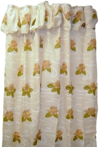 bigkitchen red flower fabric shower curtain valance with liner