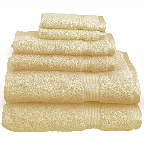 Blue Nile Mills 6-Piece Towel Set, Long-Staple Combed Cotton, Canary