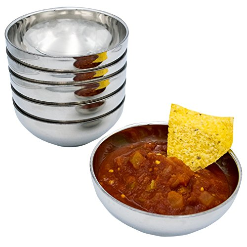 TukTek Kitchen Salsa Bowl Set of 6 Serving Dishes for Chips Dip & Snacks Made of Stainless Steel 8oz (6)