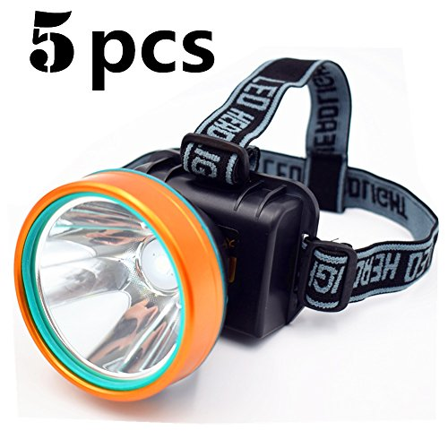 HT 5Pcs Waterproof 50W 2600ft Bright Range Keep Working 26+hrs LED Headlamp Torch Outdoor Rechargeable Adjustable Headlight for Camping Hunting Fishing high Brightness Headlight