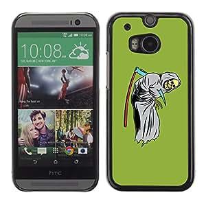 GOODTHINGS ( NO PARA HTC ONE MINI 2) Funda Imagen Diseño Carcasa Tapa Trasera Negro Cover Skin Case para HTC One M8 - verde divertido parca cráneo guadaña