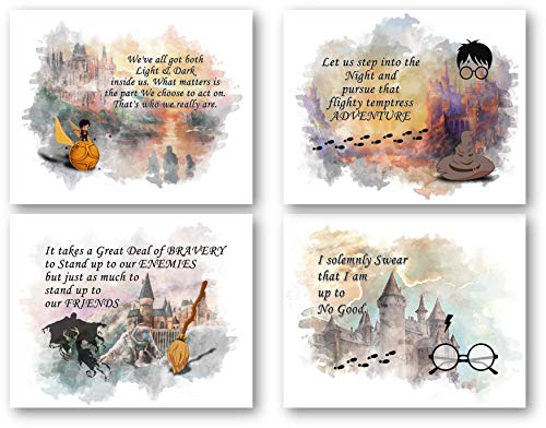 Ramini Brands Harry Potter Quotes and Sayings Wall Decor Art Prints - Set of 4 8 x 10 Unframed Prints - Great Gift for Harry Potter Fans]()
