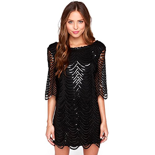 Deargles Womens Dress In Sequins Short Sleeves SS16001 Black XL (Great Gatsby Dresses)