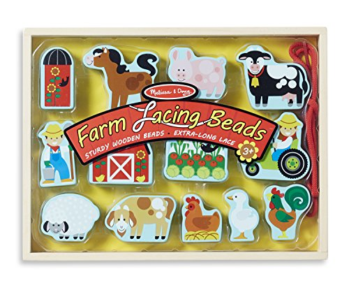 Melissa & Doug Farm Lacing Beads With 13 Wooden Beads and 1 Sturdy Lace ()