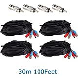 ZOSI 4 Pack 100ft 30m AHD TVI BNC Power Video Cable Wire Connector for Security System CCTV Camera
