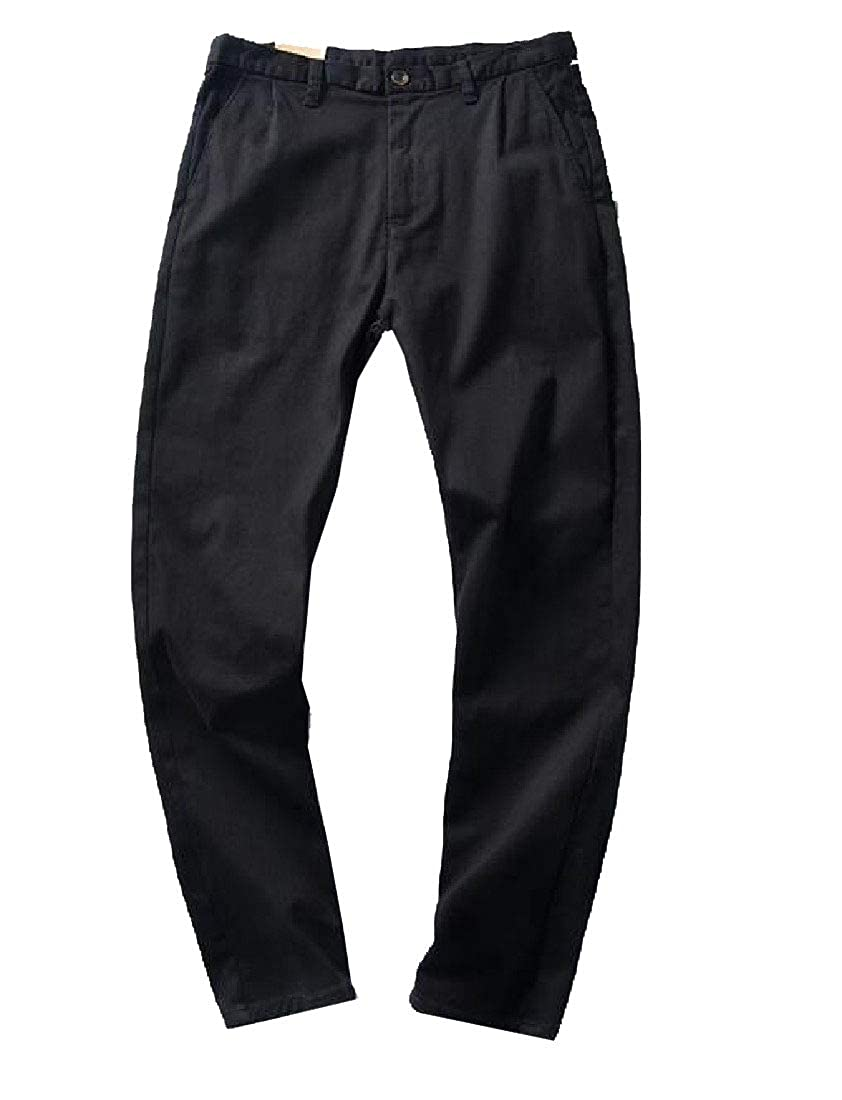 YUNY Men Pocket Athletic Straight Breathable Causal Solid Colored Pants Dark Grey 32
