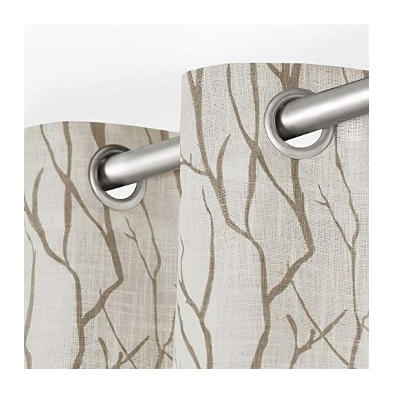 "Exclusive Home Curtains Oakdale Sheer Textured Linen Grommet Top Curtain Panel Pair, 54x84, Taupe, 2 Piece - Oakdale panels offer a natural printed motif on a sheer, textured linen look fabric Includes:  Two (2) curtain panels, each measuring:   54""W x 84""L 8 matte silver grommets per panel; inside diameter for curtain rod measures 1-5/8"" - panel sewn with 4"" heading; 3"" bottom hem - living-room-soft-furnishings, living-room, draperies-curtains-shades - 51FhZjzwHJL. SS570  -"
