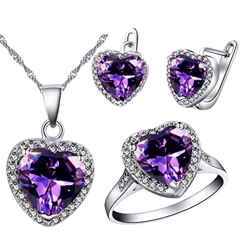 Uloveido Women Platinum Plated Purple Crystal Love Heart Pendant Necklace Promise Ring and Studs Earrings Jewelry Set for Kids Girls Birthday Gift T481