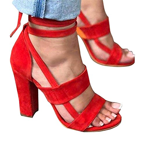 Blivener Womens Lace Up Chunky Block Heeled Sandals Ankle Strap High Heels Red 64XIqVxVbg