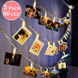 3 Pack Photo Clips String Lights 29.5ft 60 LED Warm White Battery Operated Fairy Strip Light for Bedroom Window Wall Indoor Outdoor Christmas Tree Decoration Hanging Photo Card Memos Ideal Gift Favor