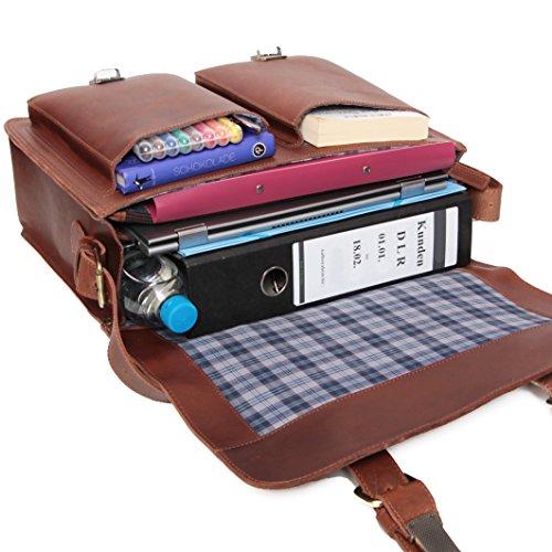 ALMADIH Leder Aktentasche *STEVE* handgefertigt aus robustem Premium Rindsleder braun Vintage Sattlerqualität - Businesstasche Laptoptasche Notebook Lehrertasche Unitasche Schultertasche Umhängetasche