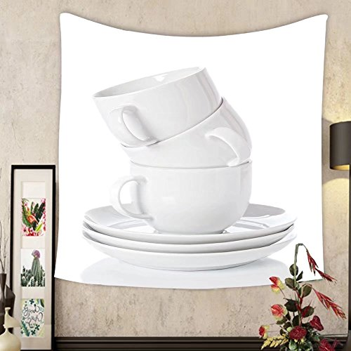 (Grace Little Custom tapestry stack of white china cups and saucers on a white background)