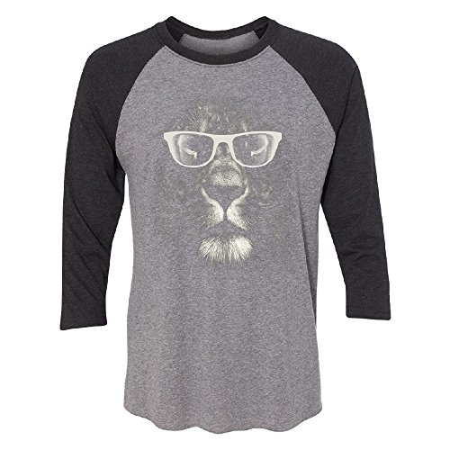 Hipster Lion 3/4 Raglan Tee Fancy Fashion 2017 Brand New Top Quality Jersey Black Heather/Grey X-Large