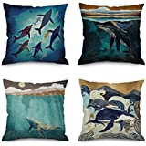 Andreannie Pack of 4 Ink Painting Sea Animals Whale Sharks Cotton Linen Decorative Throw Pillow Cover Personalized Cushion Case for Sofa Couch Office Square 18 X 18 Inches