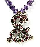 Heidi Daus SWAROVSKI Crystal Drop Mythical Dragon Necklace ~Amethyst Sublime Serpent