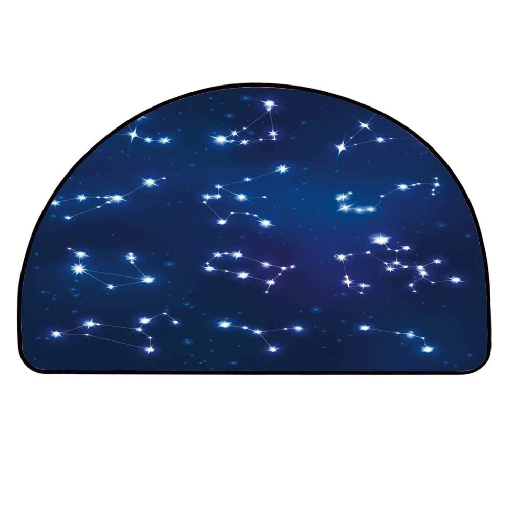 YOLIYANA Constellation Semi Circle Mat,Realistic Celestial Gemini Leo Pisces Sagittarius Galactic Carpet Indoor Mat,25.9'' H x 51.1'' L