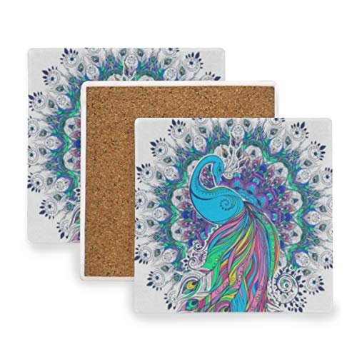 Vintage Peacock Feather Coasters, Protect Your Furniture from Stains,Coffee, Cork Coasters Funny Housewarming Gift,Square Cup Mat Pad for Home, Kitchen or Bar 1 Piece