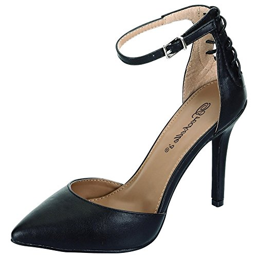 Breckelle's Women's Isabel-21 Pointed Toe Ankle Strap Pumps (8.5 B(M) US, Black)