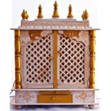 Home Temple / Wooden Temple/ Pooja Mandir / Pooja Temple with LED BULB INSIDE FREE GIFT POOJA ARTICLES GOD FRAME, POOJA THALI