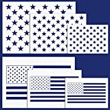 Whaline American Flag 50 Stars 2 in 1 Flag Stencil Template for Painting on Wood, Fabric, Paper, Airbrush, Walls Art£¨6 Piece£
