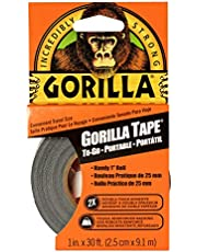 Gorilla Tape To-Go, Double Thick Adhesive, Weather Resistant Shell, Reinforced Backing, Travel Size Roll, Black, 1in x 30ft (2.5cm x 9.14m) Pack of 1 - 6101001