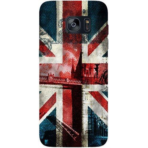Casotec London Flag Wallpaper Design Hard Back Case Cover for Samsung Galaxy S7 Edge