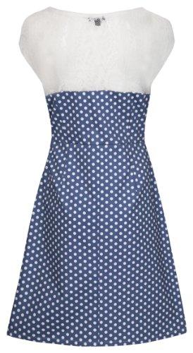 Elegante MyMust - vestito con fantasia a pois modello e punte dettaglio - blu & bianco