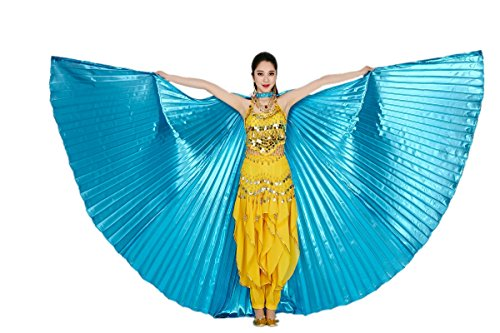 CISMARK Isis Wings Belly Dance Costume Prop Closed Back(Lake Blue) (Dance Worship Costumes)