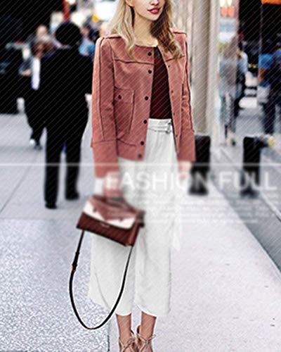Purée Gracieux Pure Avec Mode De À Slim Printemps Casual Couleur longues Manteau Veste Automne Manteau Fermeture Veste Rose poches Boutons manches Femme Fit YnXwgqxrY