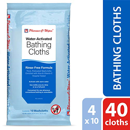 Pharma-C-Wipes Water Activated Bathing Cloths - Rinse Free - Thick, Pretreated Washcloths (4 Packs of 10 Wipes)