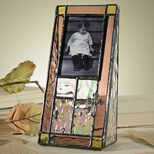 J Devlin Pic 178-23 Stained Glass 2x3 Picture Frame Table Top Photo Frame Pink Rose and Clear Iridescent Keepsake Git for Baby Girl Baptism Christening First Communion