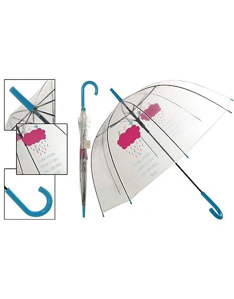 Hogar y Mas Paraguas Burbuja Transparente Original con Frase Divertida Happy Rain 85 X 80 CM: Amazon.es: Hogar