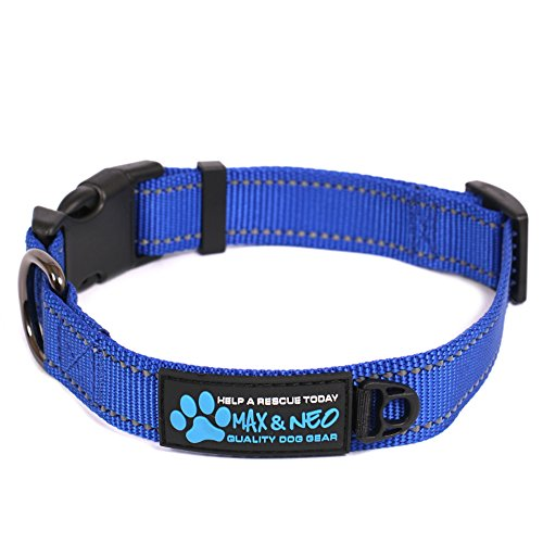 Neo Wide Dog Collar - Max and Neo trade; NEO Nylon Buckle Reflective Dog Collar - We Donate a Collar to a Dog Rescue for Every Collar Sold (SMALL, BLUE)