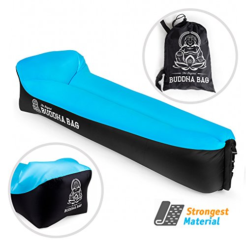 THE ORIGINAL BUDDHA BAG - Inflatable Air Lounger Hangout Sofa w/ Pillow. Travel Portable Inflatable Couch is perfect for Indoor And Outdoor Use Inflatable Air Chair For Camping Beach, Lake or (Dolce King Comforter)