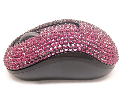 A4tech Optical Mouse (2.4G Wireless Mobile Optical Mouse, Hepix Purple Crystal Bling Rhinestone Covered, USB Nano Receiver for Notebook, PC, Laptop, Computer, Macbook)