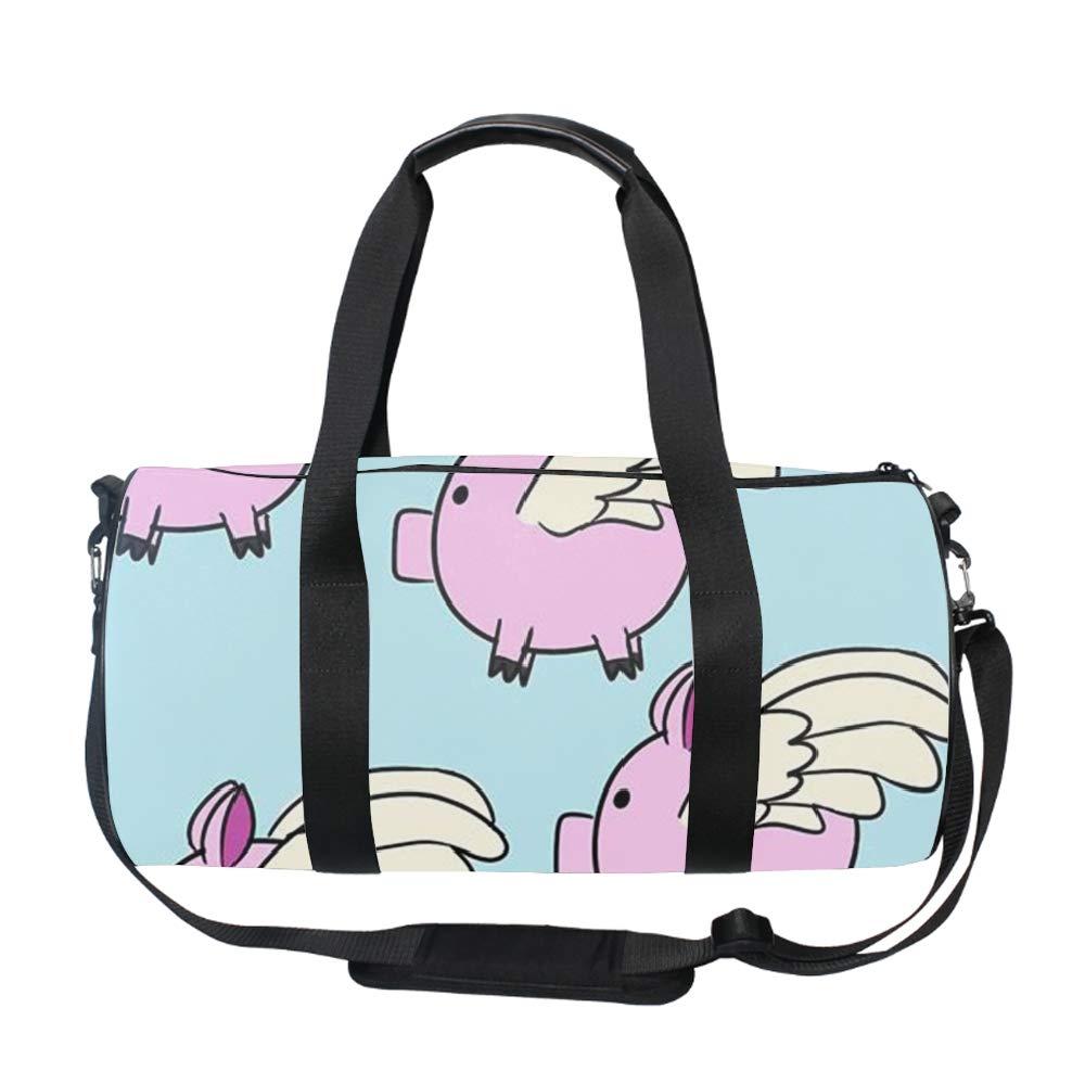 Flying Pigs Gym Duffle Bag Drum tote Fitness Shoulder Handbag Messenger Bags