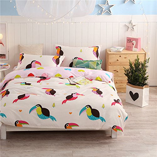 LELVA Birds Print Bedding Set Cotton Cartoon Duvet Cover Set Kids Bedding 4 Piece Bed in a bag (King, Flat Sheet Set)