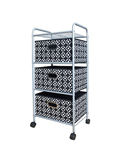 Bintopia 3 Drawer Trolley Cart, Black/White