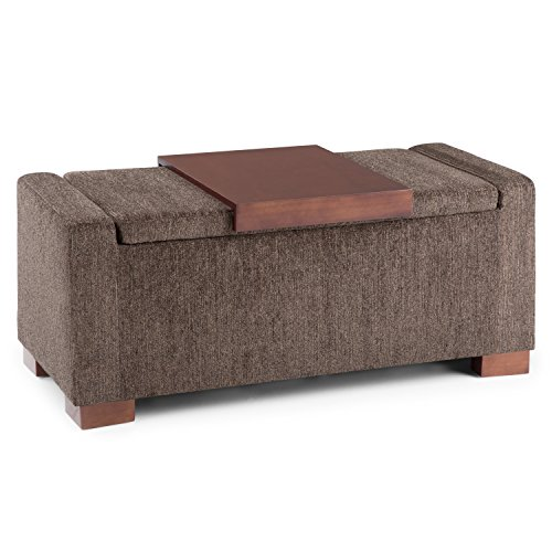 Simpli Home AXCOT-289 Bretton 42 inch Wide Contemporary Storage Ottoman in Deep Umber Brown Fabric