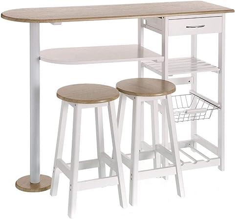 Mesa para cocina de bar moderna de madera blanca Basic - LOLAhome ...
