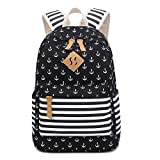 Cheap Hiigoo Navy Style Printing Backpack Canvas Shoulders Bags Student Satchel Multi-function Bag (Black)