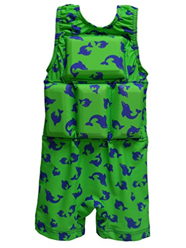 - My Pool Pal Toddler Boys' Flotation Swimsuit, Green/Blue Dolphin, Small