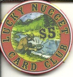 $5 lucky nugget card club casino chip deadwood south dakota